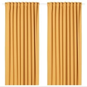 IKEA Majgul Two Polyester Yellow Curtains 57x98in